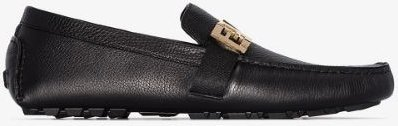 black FF buckle leather driving loafers