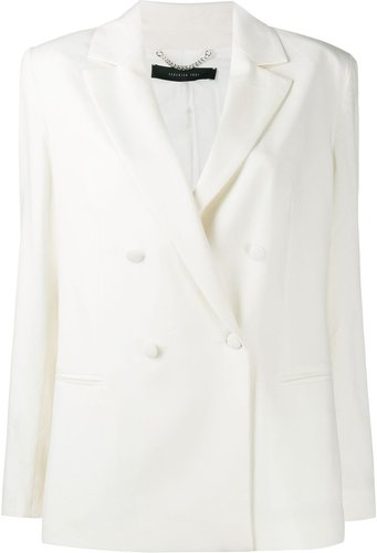 double breasted blazer - White