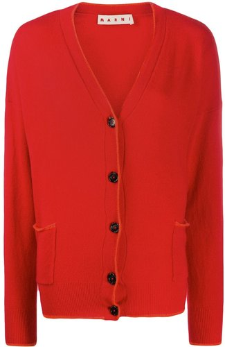 contrasting piping cardigan - Red