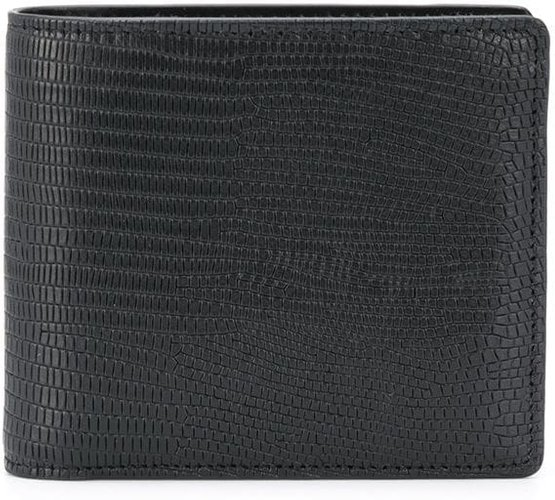 logo stitching bi-fold wallet - Black
