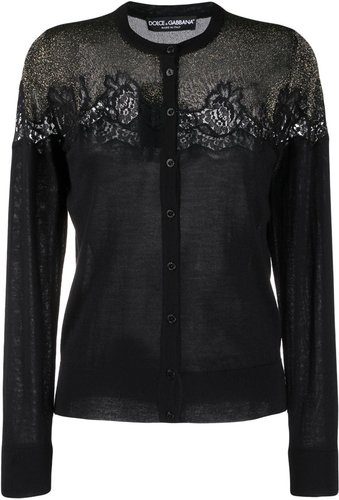 lace detailed cardigan - Black