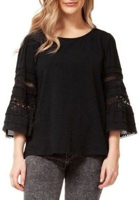 Lace-Inset Wide-Sleeve Top