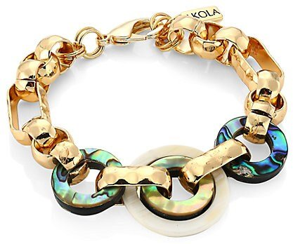 10K Yellow Goldplated, Abalone & Horn Chain Link Bracelet - Yellow Gold
