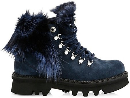1965 Women's Aurora Fox Fur-Trim, Shearling-Lined Suede Hiking Boots - Blue - Size 40.5 (10.5)