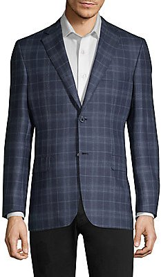 High Box Plaid Regular-Fit Sportcoat - Navy - Size 56 (46) R