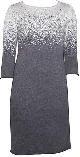 Embellished Wool Degrade Shift Dress