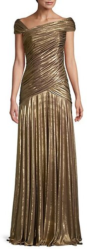 Ruched Cap-Sleeve Pleated Gown