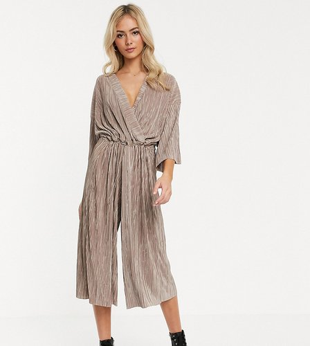 relaxed wrap front jumpsuit with toggle tie in crinkle fabric-Beige