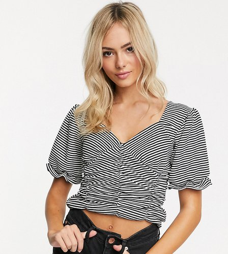 ruched front crop top with puff sleeves in stripe-Black