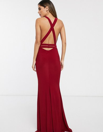 strappy cross back fishtail maxi dress-Red