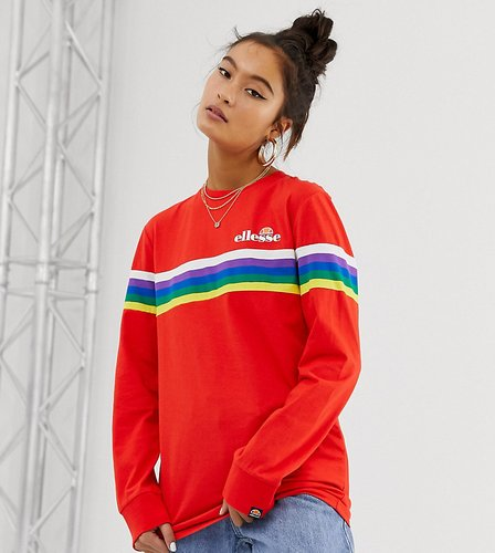 long sleeve t-shirt with chest logo and rainbow stripe exclusive to ASOS-Red
