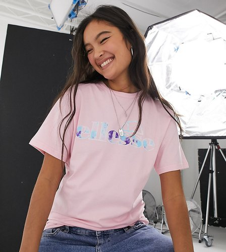 t-shirt with tie-dye logo-Pink