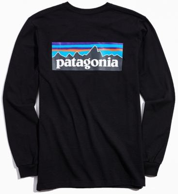 Patagonia P-6 Long Sleeve Logo Tee - Black Xxl at Urban Outfitters