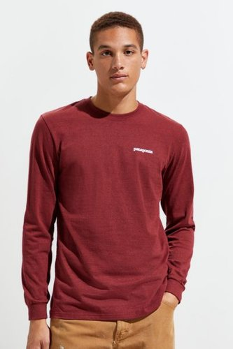 Patagonia P-6 Long Sleeve Logo Tee - Red M at Urban Outfitters