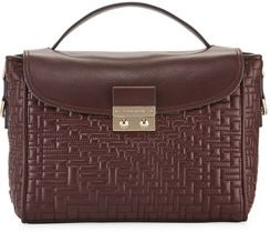 Locked Quilted Leather Flap-Top Satchel Bag