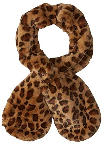 Animal Print Faux Fur Pull-Through Scarf (Oatmeal) Scarves
