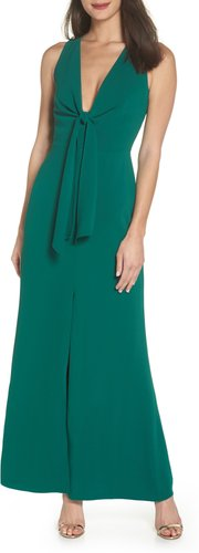 Plunge Neck Tie Front Maxi Dress, Size Small - Green