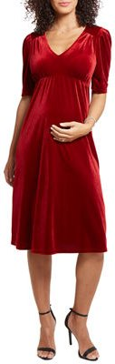 Maternity Velvet Short-Sleeve Dress