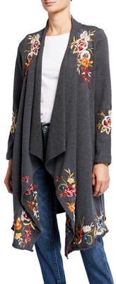 Isla Floral Embroidered Draped Cardigan