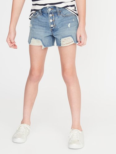 High-Waisted Distressed Button-Fly Denim Cut-Offs for Girls