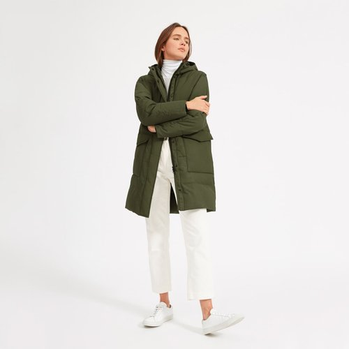 ReNew Long Puffer Coat by Everlane in Surplus, Size L