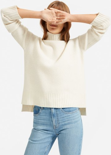 ReCashmere Stroopwafel Turtleneck Sweater by Everlane in Bone, Size XS