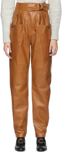 Brown Leather Ferris Trousers