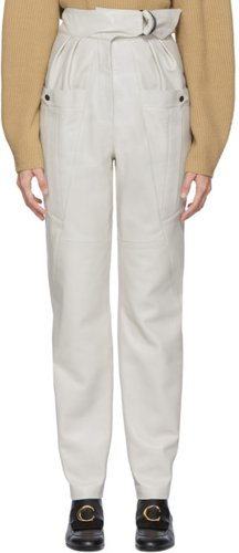 White Leather Ferris Trousers