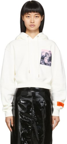 Off-White Cropped Heron Birds Patch Hoodie