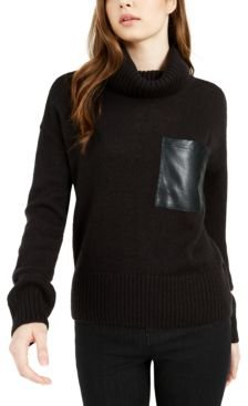 Cowl-Neck Faux-Leather-Pocket Sweater, Created For Macy's