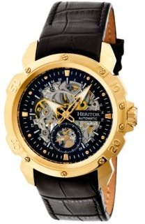 Automatic Conrad Gold & Black Leather Watches 42mm