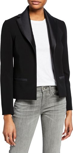 Satin Open-Front Fitted Blazer