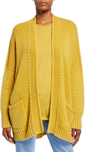 Flora Open-Front Stone-Washed Cashmere Cardigan