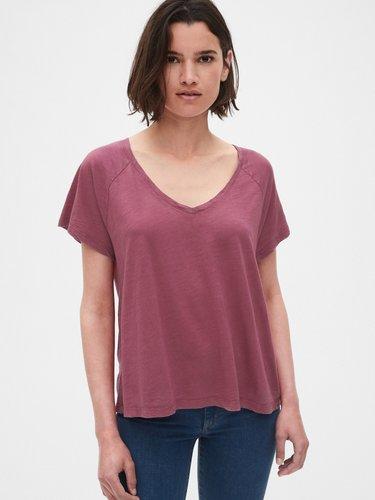 Relaxed Slub V-Neck T-Shirt