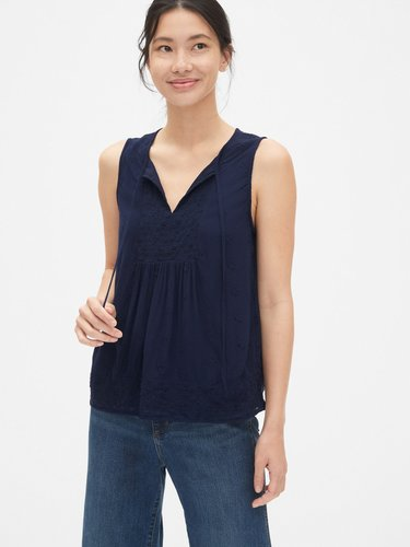 Eyelet Embroidered Crinkle Tank Top