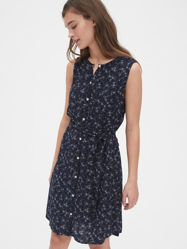 Sleeveless Print Shirtdress
