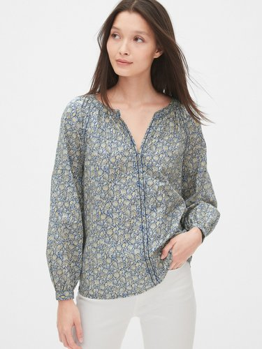 Embroidered Print Peasant Blouse