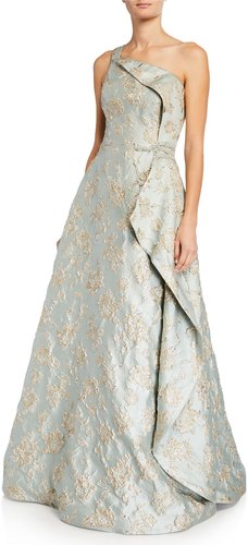 One-Shoulder Metallic Jacquard Asymmetrical Wrapped Gown