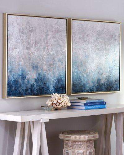 "Frost on Sapphire"" Original Paintings, 2-Piece Set"""