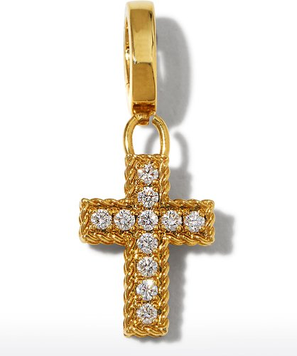 18k Gold Diamond Cross Charm