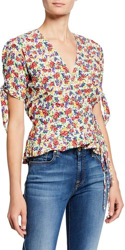 Lucy Floral Print Short-Sleeve Wrap Top