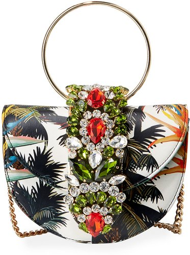Brigitte Mini Jeweled Botanical Top-Handle Bag