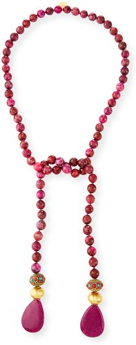 Beaded Long Lariat Necklace, Pink