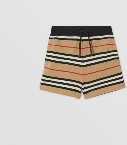 Childrens Icon Stripe Cotton Shorts, Size: 2Y, Beige