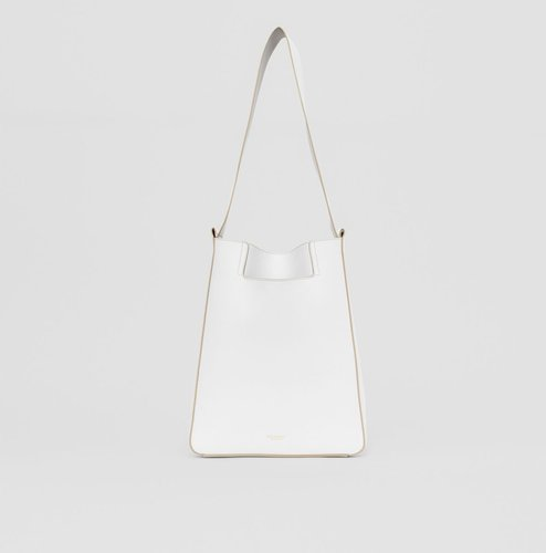 Small Leather Basket Bag, White