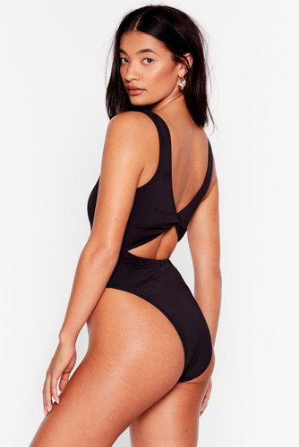 Recycled Knot Going Home High-Leg Swimsuit - Black