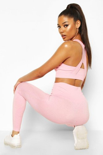 Fit Contoured Supportive Waistband Seamless Leggings - Pink - M