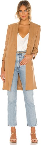 Muriel Scrunched Slit Sleeve Coat in Tan. - size M (also in L)