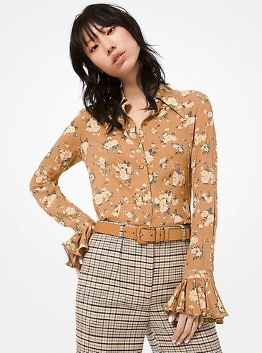 Floral Crushed Silk-Georgette Blouse
