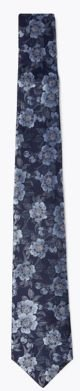 Marks & Spencer Pure Silk Floral Woven Tie - Navy Mix - One Size